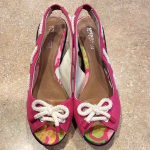 SPERRY TOPSIDER SOUTHPORT PINK SLINGBACK WEDGES
